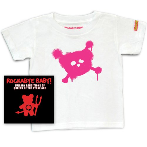 Rockabye Baby! Lullaby Renditions of Queens of the Stone Age + Rockabye Baby 100% Organic Cotton Toddler T-Shirt (White/Pink)