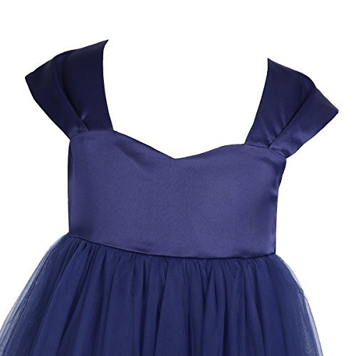 Kids Party Princess Girls Little TiaoBug Navy Dress Bridesmaid blue Long Tulle Wedding qf4EOwE