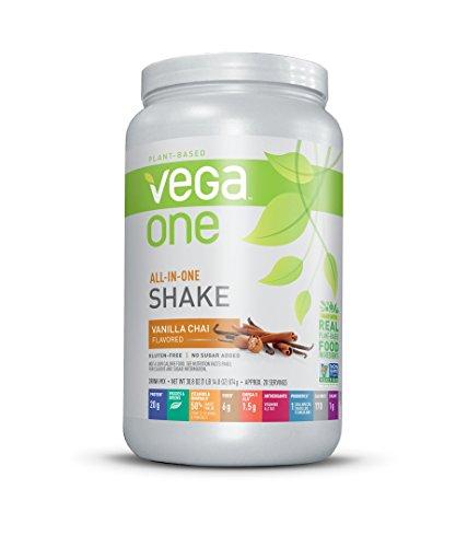 Vega One All-In-One Nutritional Shake Vanilla Chai (1.93 lb, 20 Servings) - Plant Based Vegan Protein Powder, Non Dairy, Gluten Free, Non GMO ()