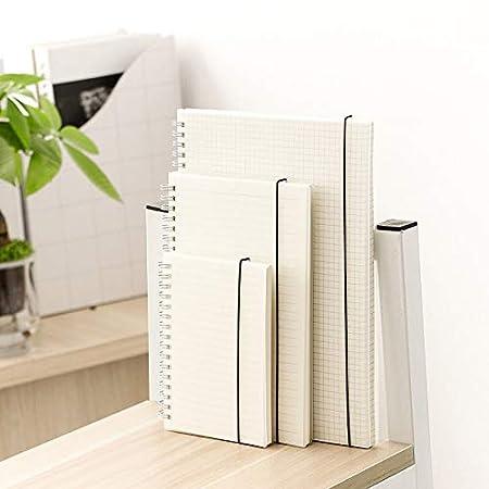 per scuola e ufficio 15 * 11cm White Grid taccuino riempito di alta qualit/à in carta spessa Msyou Quaderno con copertina rigida trasparente a spirale