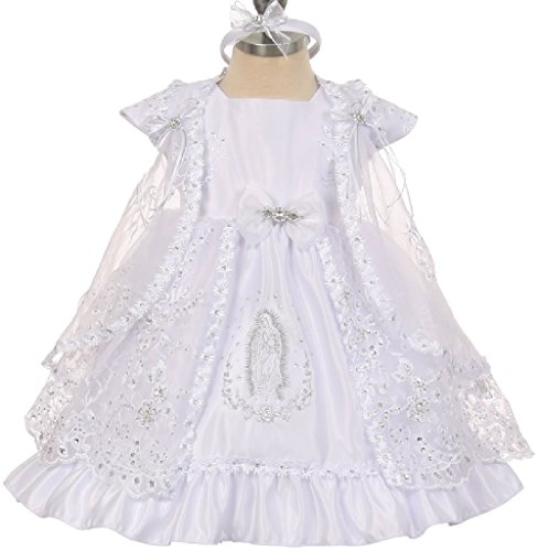 New Girls Christening Baptism Dress - Little Baby Girls Virgin Mary Embroidery Christening Baptism Dresses (0T1R5K) White 6M