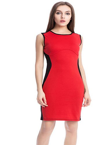 JIALELE Vestido Fiesta Mujer,De Fiesta La Vestimenta Femenina,Cuello Redondo La Rodilla-Longitud Sin Mangas Elásticas Micro Espeso Rojo