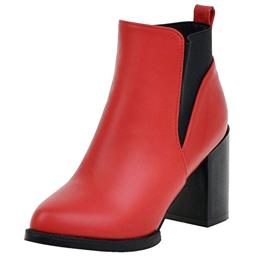 COOLCEPT Women Block High Heels Chelsea Ankle Boots Red