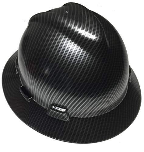 (Hard Hat MSA Full Brim Custom Carbon Fiber Satin)