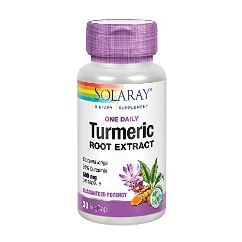 (Solaray Guaranteed Potency Turmeric Root Extract One Daily 600 mg VCapsules, 30 Count)