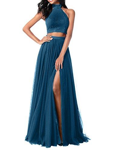 La_mia Brau Lang Abendkleider Ballkleider Partykleider Festlichkleider Jugendweihe Kleider Zwei-teilig A-linie 2018 Neu Damen Rock Tinte Blau fMTt23