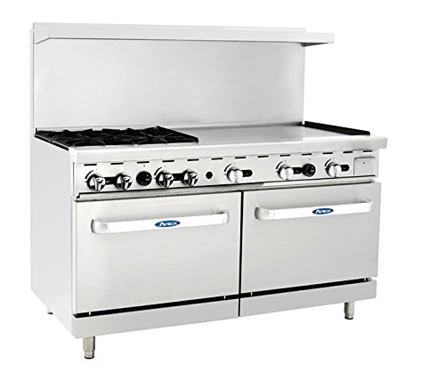 Atosa ATO-4B36G 60'' Gas Range. (4) Open Burners and 36'' Griddle on the RIGHT with Two 26'' 1/2 Wide Ovens