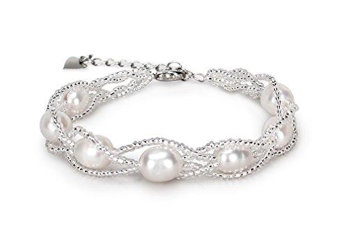 CASOTY Freshwater Cultured Pearl Bracelets Beaded Bridal Bracelet for Women Girl - Crystal Natural Pearl Necklace
