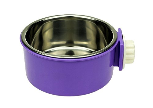 Pet Food Bowl Removable Stainless Steel Hanging Bowl with Bolt Holder,By Lesypet