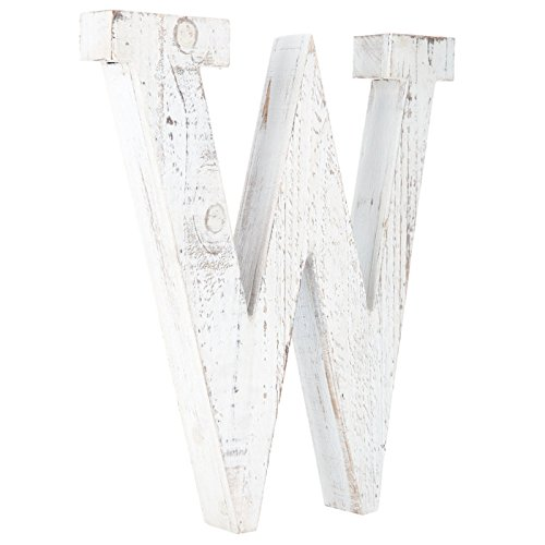 Distressed White Alphabet Wall Décor/Free Standing Monogram Letter W by Generic