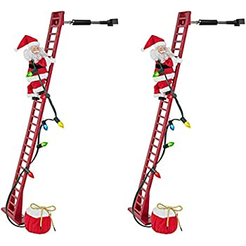 Mr. Christmas Super Climbing Santa Holiday Decor, Red (Red (2-Pack))