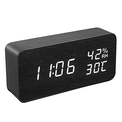 (KeeKit Digital Alarm Clock, Wooden LED Desktop Clock with Temperature Humidity Time Display, Voice Control, 3 Levels Adjustable Brightness, 3 Alarm Settings, USB/Battery Powered for Home, Bedroom )