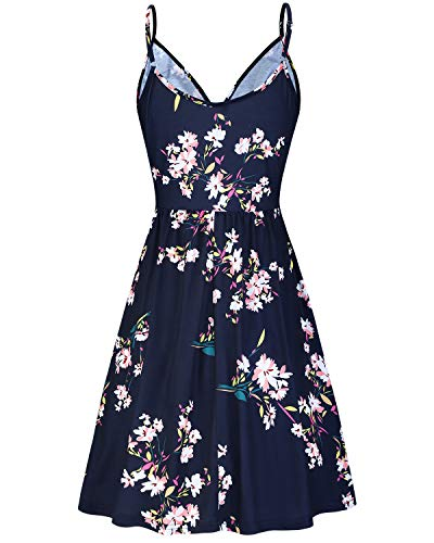 STYLEWORD Women's V Neck Floral Spaghetti Strap Summer Casual Swing Dress with Pocket 3
