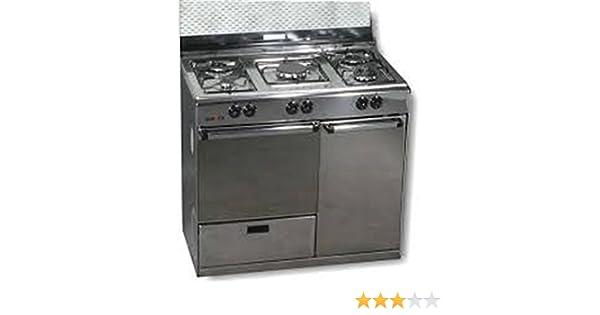 Rommer - Cocina Conv. Rommer Vp5Inoxpb,Butano, 5Fuegos, Horno Gas ...