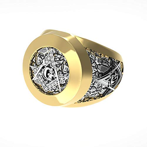 EEJART Stainless Steel Two-Tone Vintage Freemason Jewelry, Gold Color Masonic Rings Inlaid Cubic Zirconia Freemason Ring