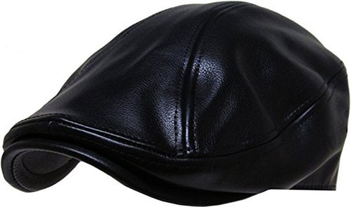 - Men Genuine Newsboy Leather Hat Cap Gatsby Flat Golf Cabbie (Large/X-Large, black)