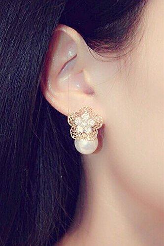 Generic The new Korean Korean fashion jewelry temperament with Europe and America hollow pearl diamond flower earrings earrings women girls lady