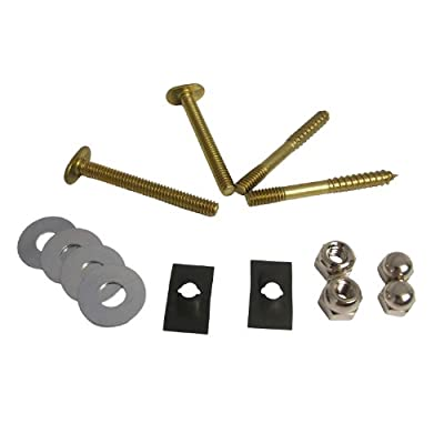LASCO 04-3651 Toilet Bolt and Screw Set with Nuts and Washers, Brass