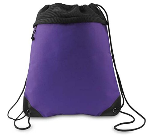 COAST TO COAST DRAWSTRING PACK, Purple And Black, Case of 24
