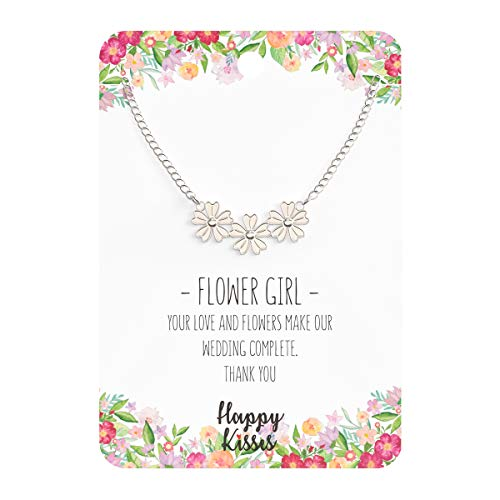 Happy Kisses Flower Girl Necklace - Your Love and Flowers Make Our Wedding Complete. Thank You - Message Card ()