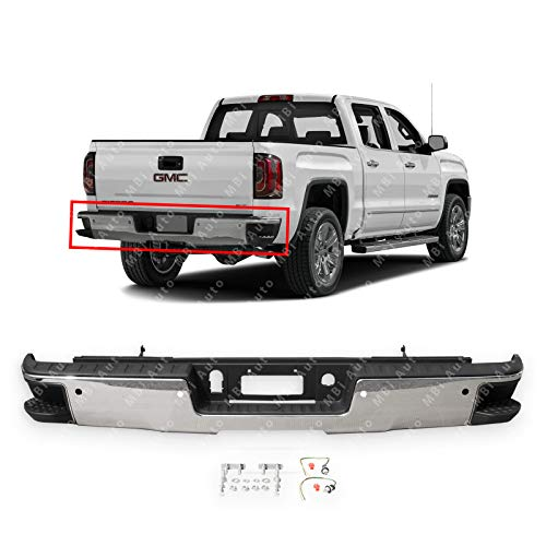 - MBI AUTO - Chrome Steel, Rear Step Bumper Assembly for 2014-2018 Chevy Silverado & GMC Sierra 1500 Series W/Park Assist Holes, GM1103175