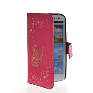 KCASE Butterfly Slim Wallet Card Pouch Flip Leather Stand Case Cover For Samsung Galaxy S3 I9300 Hotpink