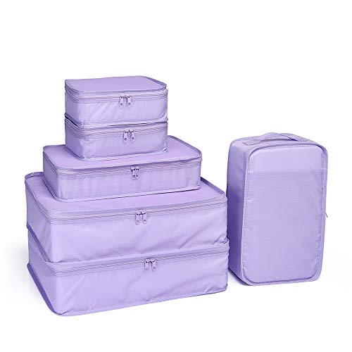 JJ POWER Lightweight Travel Packing Cubes -Multi function, Durable 6 Piece (Purple)