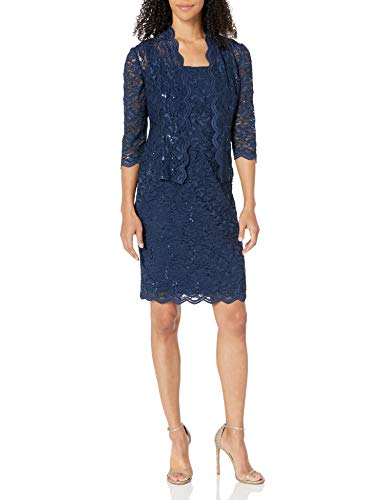Alex Evenings Women's 16 Tea Length Dress and Jacket (Petite and Regular Sizes), Navy, 16
