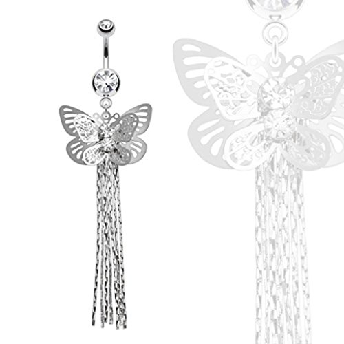 Dynamique Layered Butterfly with Gems and Chains Dangle 316L Surgical Steel Belly Button Ring ()