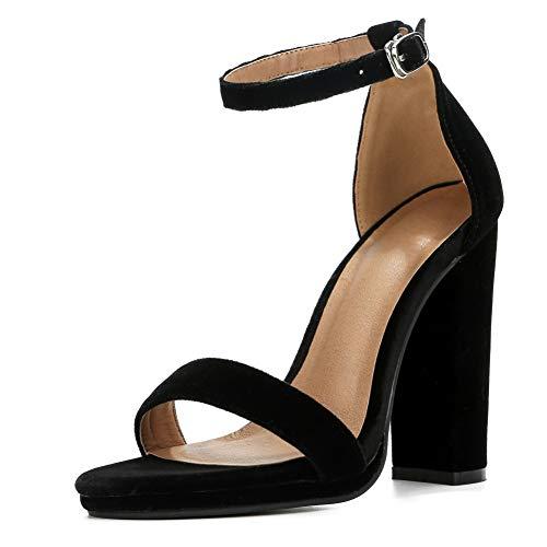 Womens Block High Heel Sandals Ankle Strap Chunky Open Toe Pumps Dress Party Shoes Velvet Black-36 (230/US6)