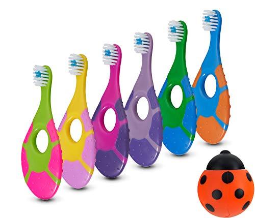 - 6 Pack - Baby Toothbrush, 0-2 Years, Soft Bristles, BPA Free   Toddler Toothbrush, Infant Toothbrush, Training Toothbrush, Includes Free Toothbrush Holder