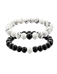 GraceAngie Long Distance Relationship Bracelets Gemstone Matching Set Beaded Bracelet 8mm (2pcs)