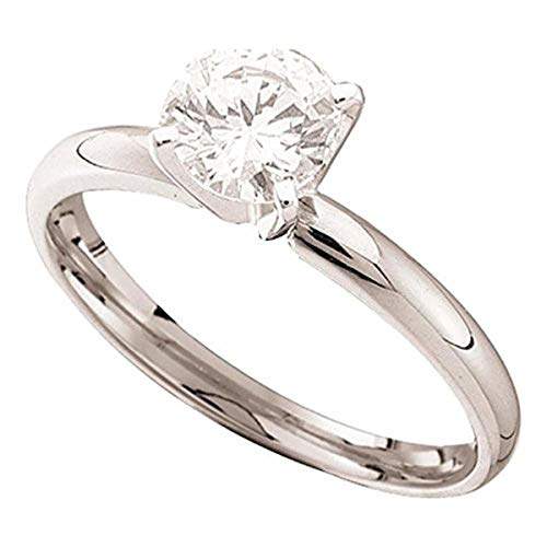 Roy Rose Jewelry 14K White Gold Womens Round Diamond Solitaire Bridal Wedding Engagement Ring 1/4-Carat tw ()