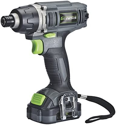 Genesis GLID12B 12V Lithium-ion Battery-Powered Cordless Quick-Change Impact Driver with LED Work Light, Belt Clip, Electric Brake, Power Indicator, Charger, Battery, and Screwdriver Bit