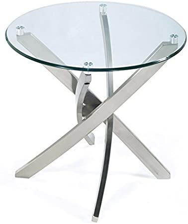 Amazon Com Magnussen Zila Round End Table In Brushed Nickel