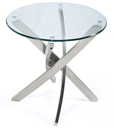 Magnussen Zila Round End Table in Brushed Nickel Finish