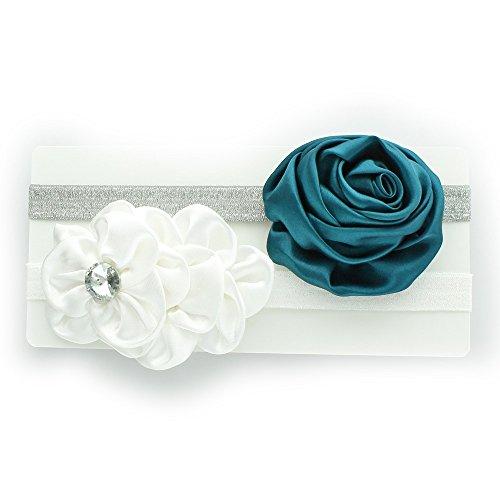 (My Lello Toddler/Girl Flower Headband Satin Sparkle 2 Pack - White/Silver/Teal)