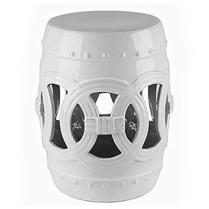 Cool Amazon Com Moroccan Geometric White Ceramic Garden Stool Machost Co Dining Chair Design Ideas Machostcouk