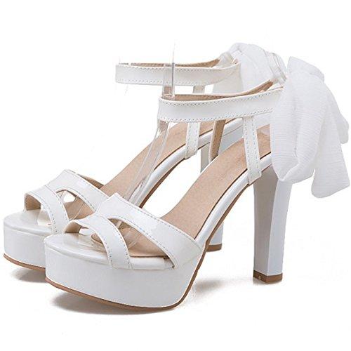 COOLCEPT Mujer Moda Cordones Sandalias Punta Abierta Slingback Tacon Ancho Zapatos Blanco