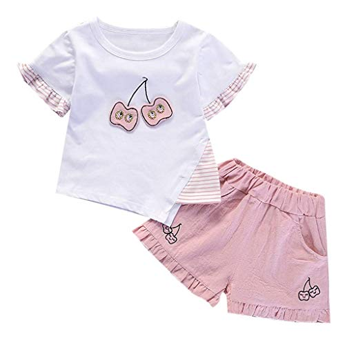 New Baby Clothes, 6M-3Y Toddler Baby Girls Ice Cream Cherry Ruched Tops Solid Pants Trousers Outfits Set White-1 12-18Months