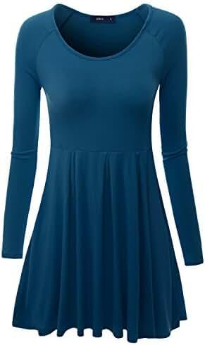 Doublju Long Raglan Sleeve Scoop Neck Flare Tunic Dress Top ( Plus size available )
