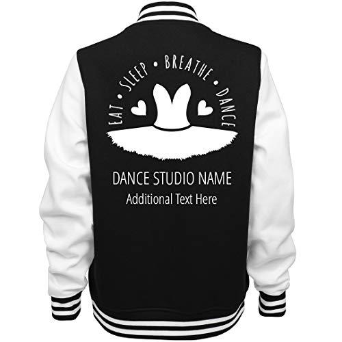 Eat Sleep Dance Custom Studio: Ladies Fleece Letterman Varsity Jacket Black/White ()