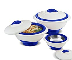 Pinnacle 3 Piece Thermo Lux Dish Hot or Cold Casserole Serving Bowls with Lids