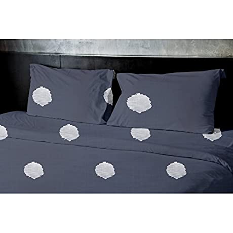 E By Design Denim Dot 3 Piece Duvet Cover Set Aqua 104 X 88