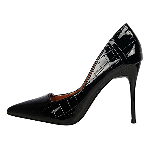 AllhqFashion Femme à Talon Haut PU Cuir Pointu Couleur Unie Chaussures Légeres Noir fYH6Rabi7Q