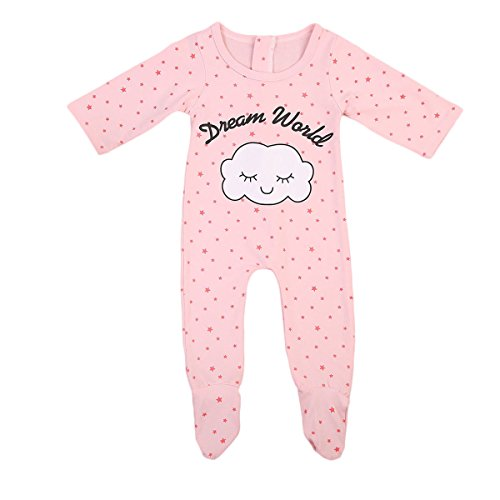 Newb Baby Girl' Footies Cotton Coverall Sleeper Cloud Stars Pattern Pajamas (70(0-6months), Pink)