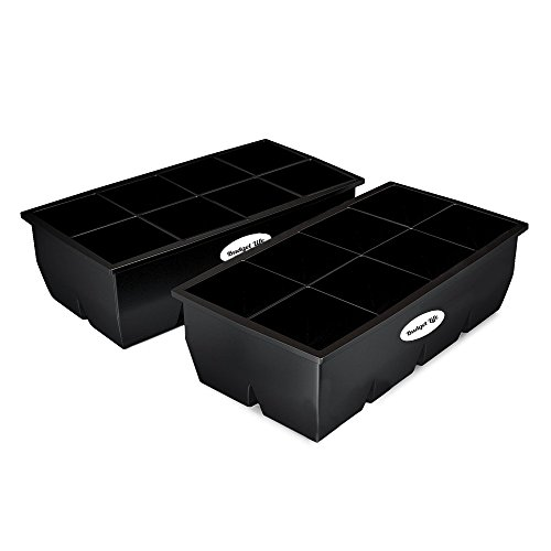 """(Extra Large size 2 pack flexible silicone ice cube tray maker for whiskey,cocktails,coffee,wine & scotch.Giant BPA free freezer cubes mold. Very X big 2"""" inch molds trays.Best 8 cavity ice holder.)"""