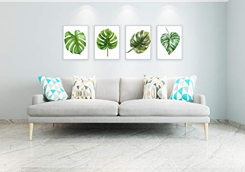 Monstera Canvas Painting for Living Room Green Leaf Wall Decor Picture Monstera Leaves Photos Print Artwork (12x16inch x4pcs)