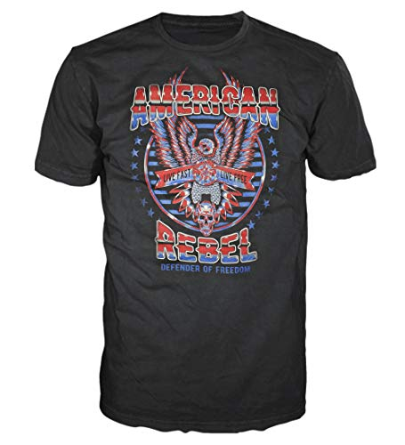 5 Star USA America Men's Graphic T-Shirt - American Flag, Patriotic, Vintage, Military, Americana Collection (Regular, Big and Tall Sizes), Black/American Rebel, Medium ()