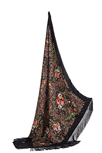 Ladies Floral Shawl With Tassels Ukrainian Polish Russian Head Scarf 43'' x 43'' (black) by Nothing But Love (Image #7)